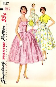 vintage%20sewing%20pattern%20-%201950s%20junior%20misses%20one-piece%20dress%20and%20jacket%20simplicity%201157%20size%2011%20bust-f91435